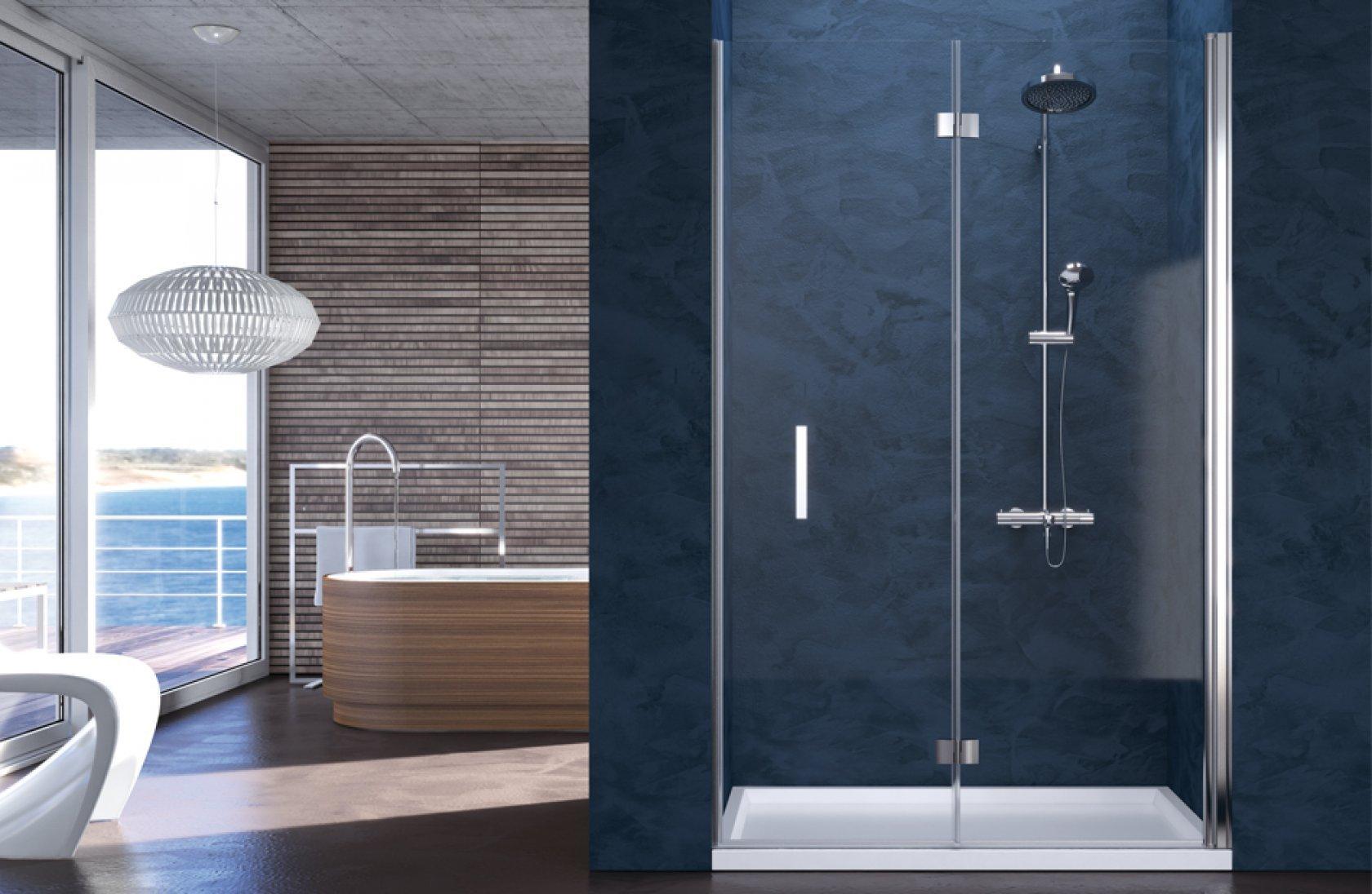 cabina doccia in vetro, alluminio con porta a battente