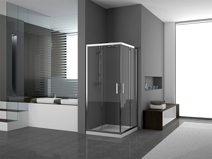 box doccia apertura angolare con arredo bagno
