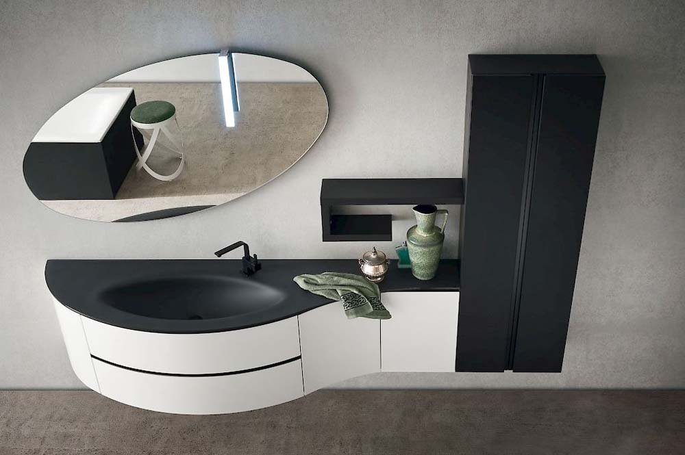 lavabo con specchio con mobile bagno