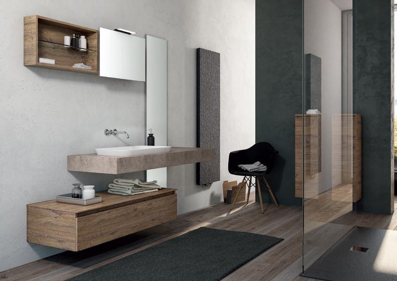 vista interna di un bagno moderno con box doccia e mobile da bagno