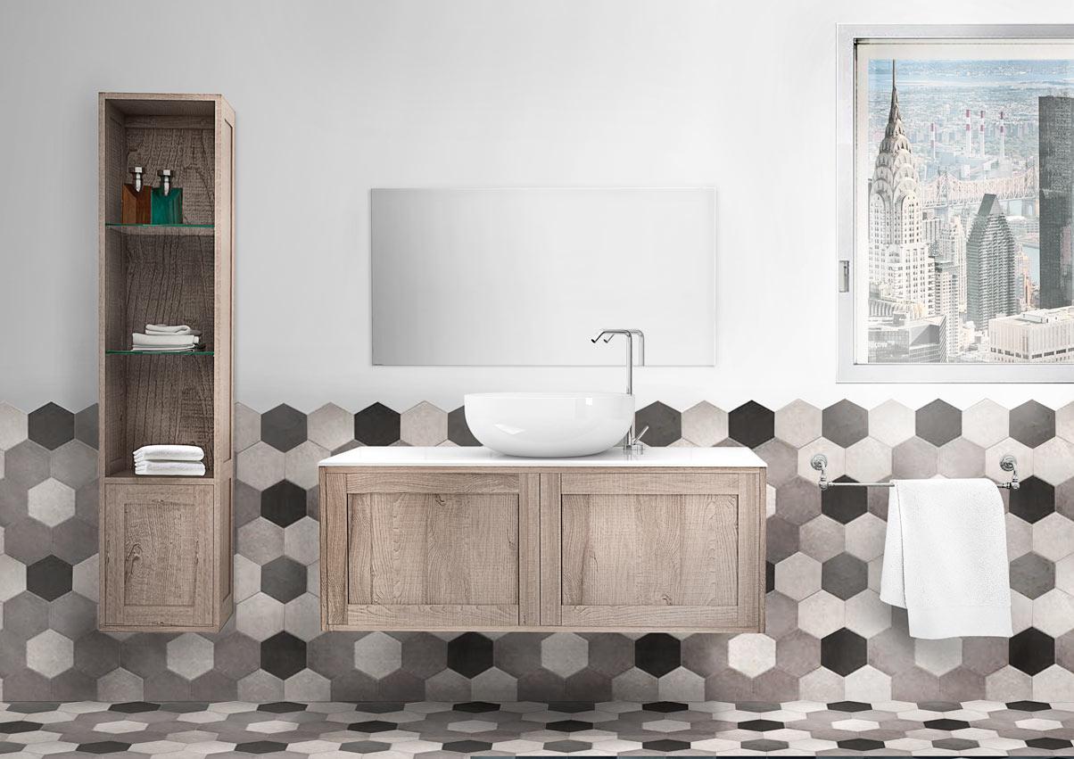 Collezione bagno con mobili da bagno con pavimento in pietra nera e bianca