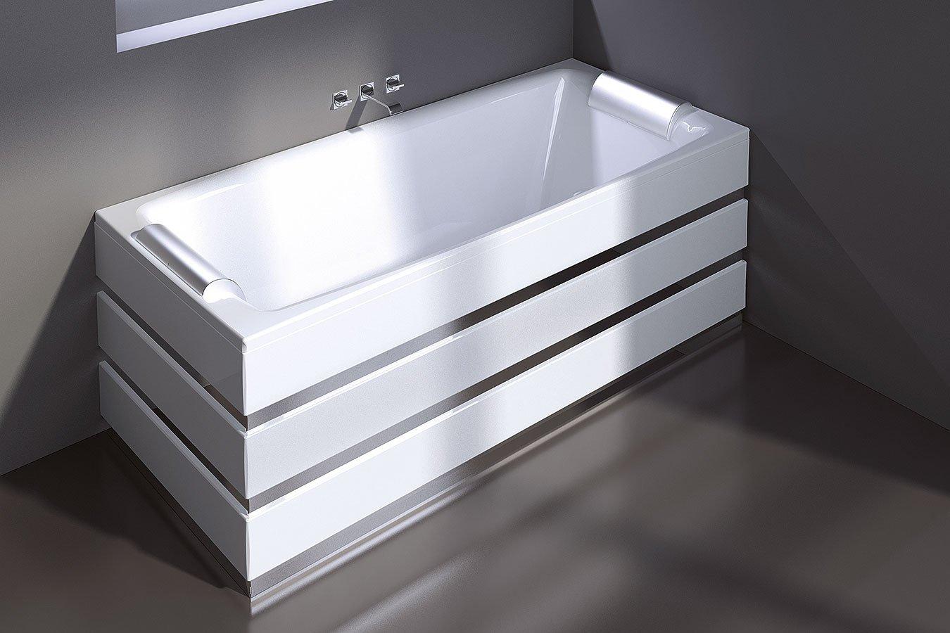 vasca da bagno in acciaio rettangolare