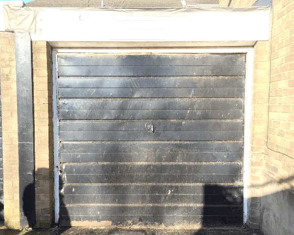 Old frontage on an up and over garage door