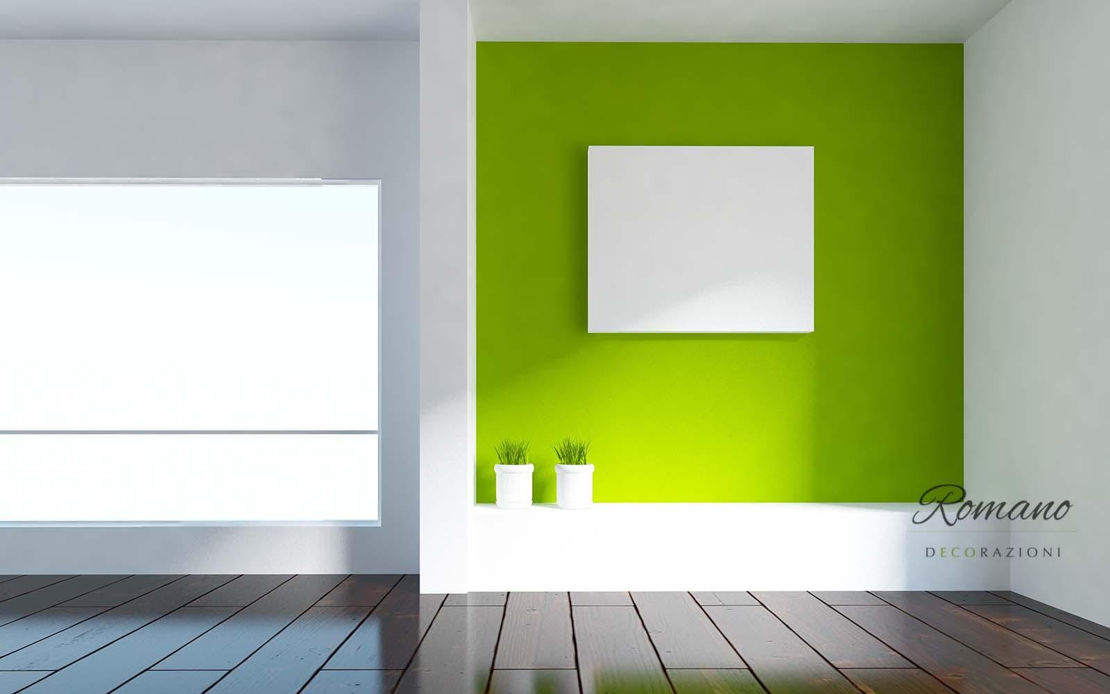 Camera bianca, rettangolo bianco sulla parete verde lime