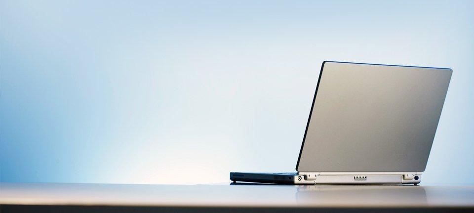 a silver laptop