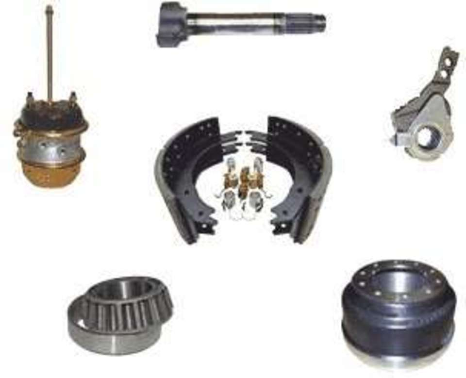 View of various brake drum parts