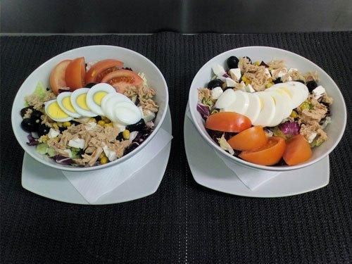 insalate di tonno, pomodori e uova