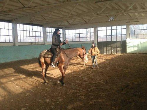 donna  durante un corso di equitazione con addestratore che impartisce istruzioni
