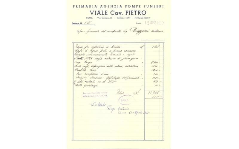fattura storica Viale cav. Pietro