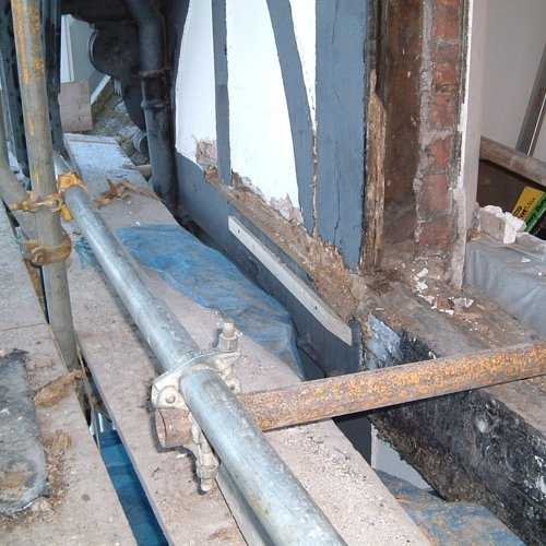 Construction work taking place on a listed building