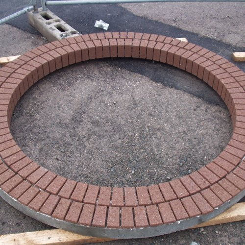 A circle feature with bricks and gravel