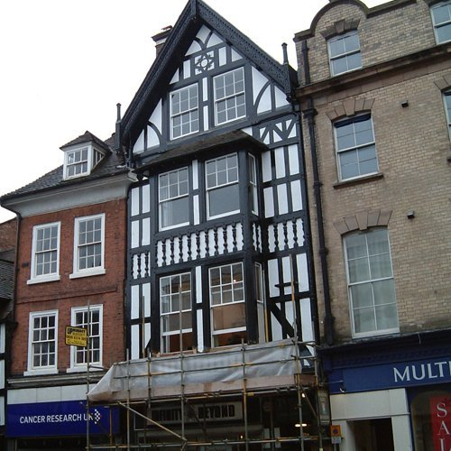 A black and white listed building