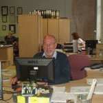 Steve Cashion working at his desk