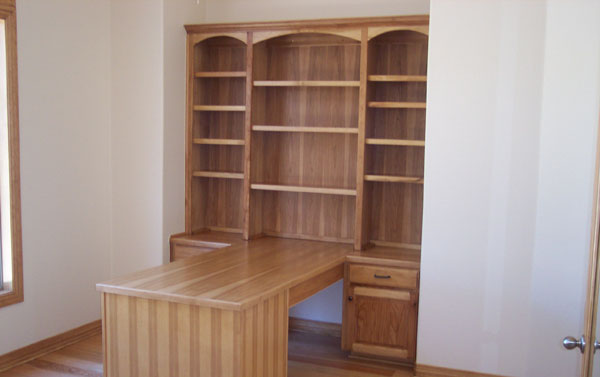 custom desk for two with bookshelving by JB Murphy custom cabinet makers