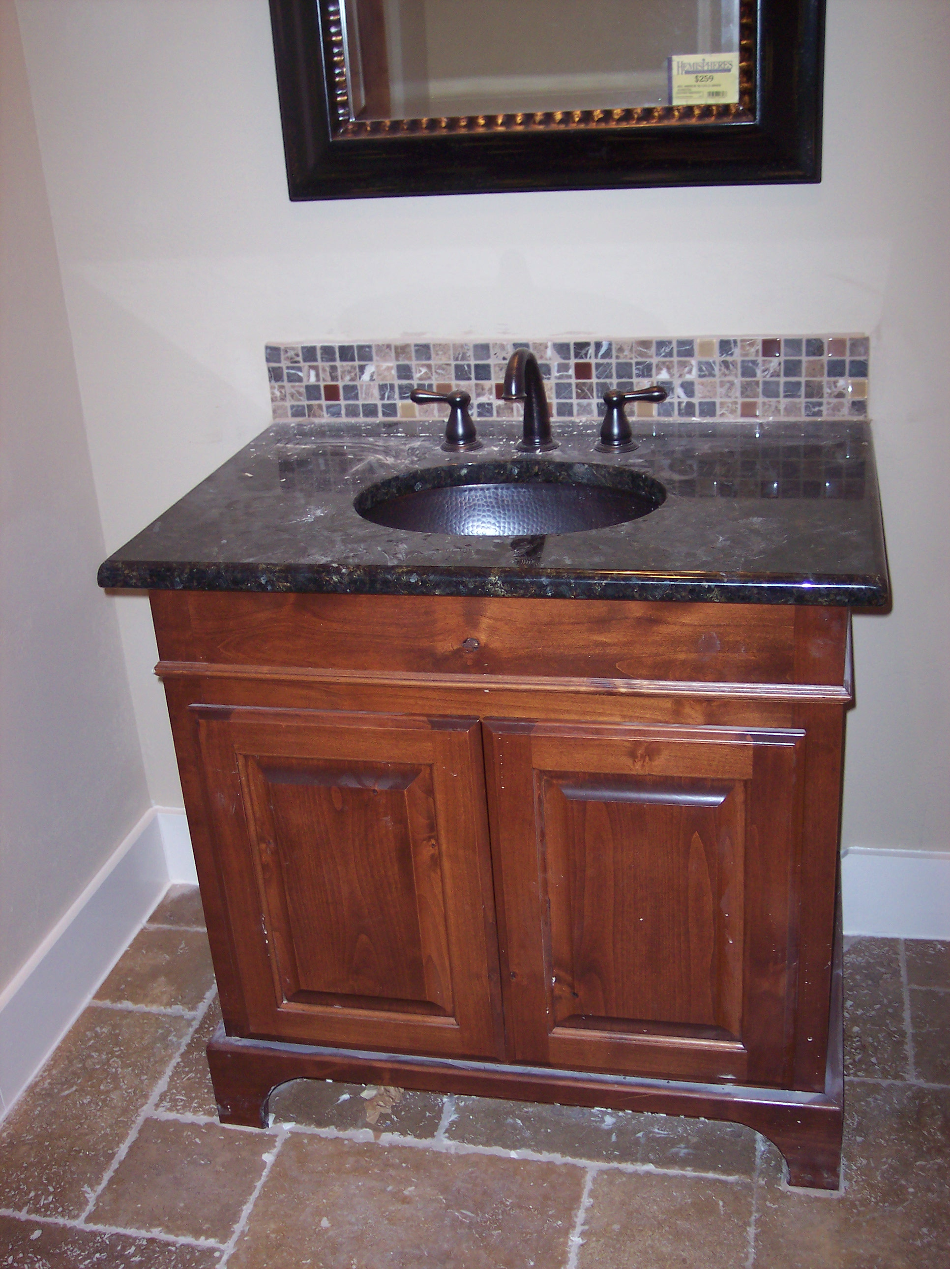 bathroom sink for a small space custom design cabinet JB Murphy co