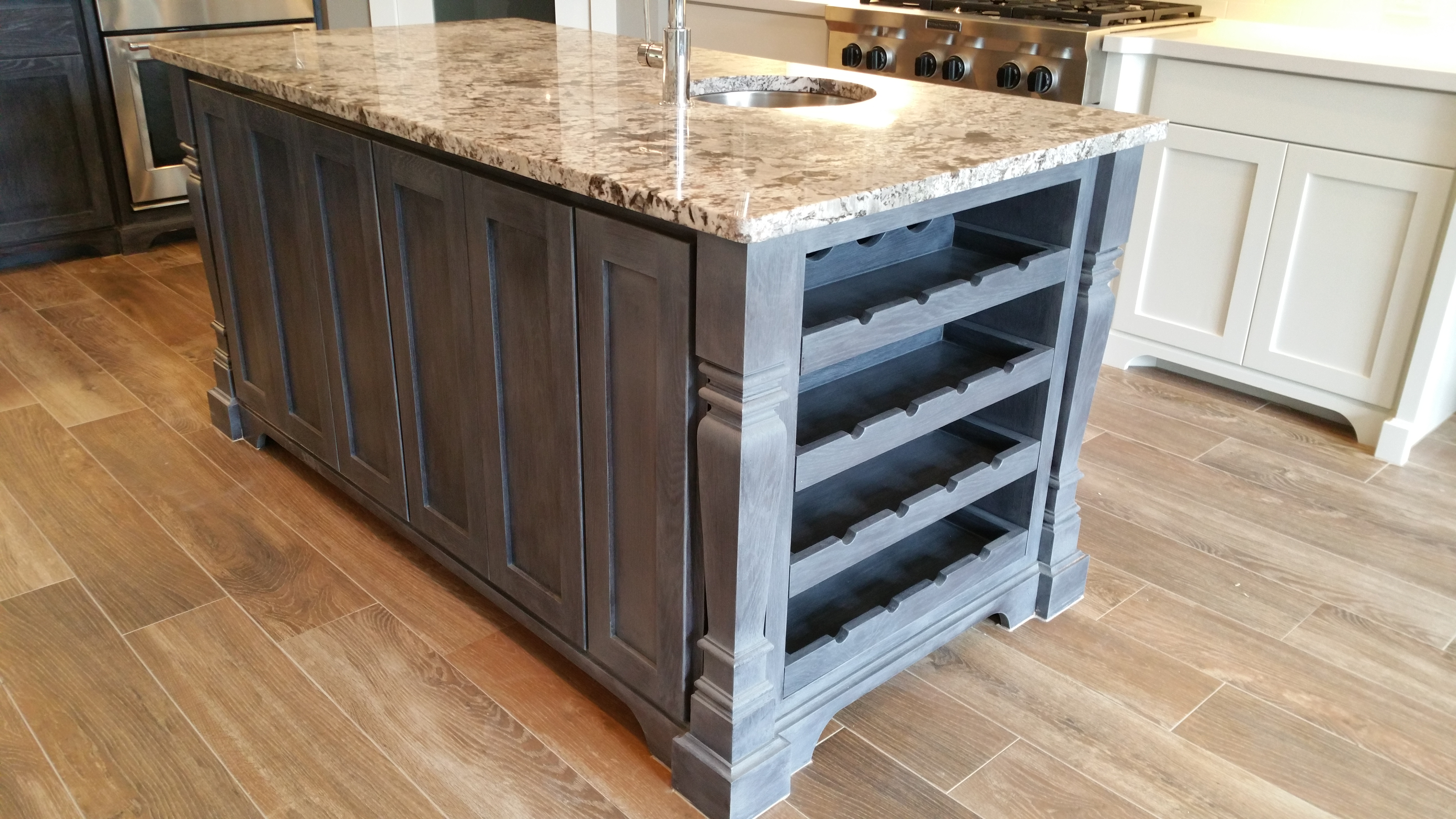 side view of kitchen island by jb murphy custom cabinet builder