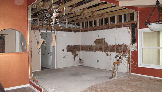 a gutted kitchen before custom cabinets installed by JB Murphy Co.