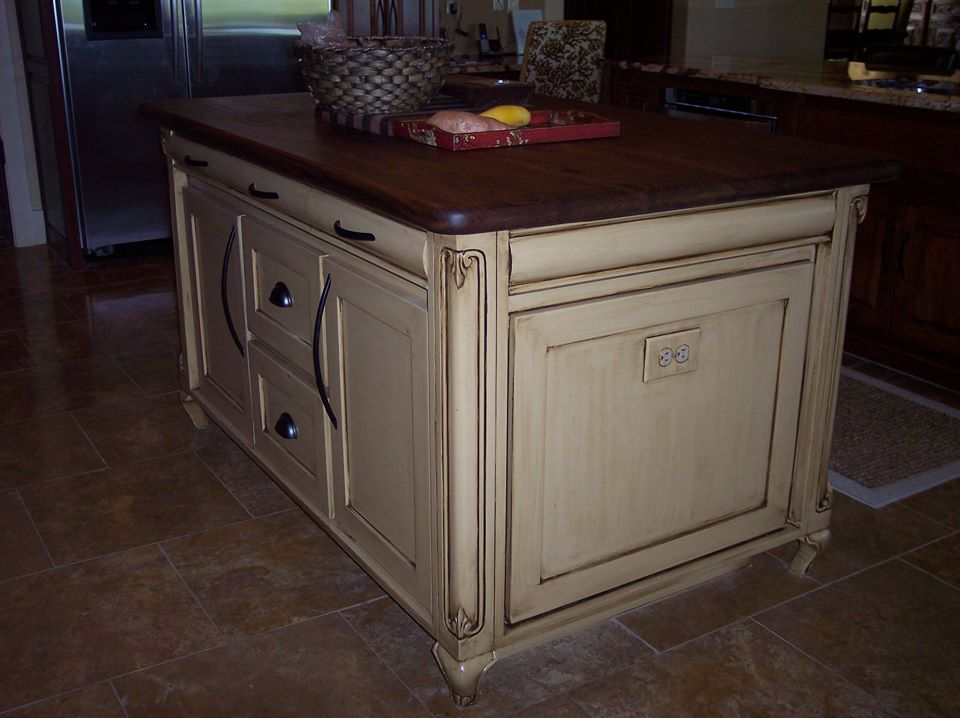 custom kitchen island with detailed trim by JB Murphy Co.