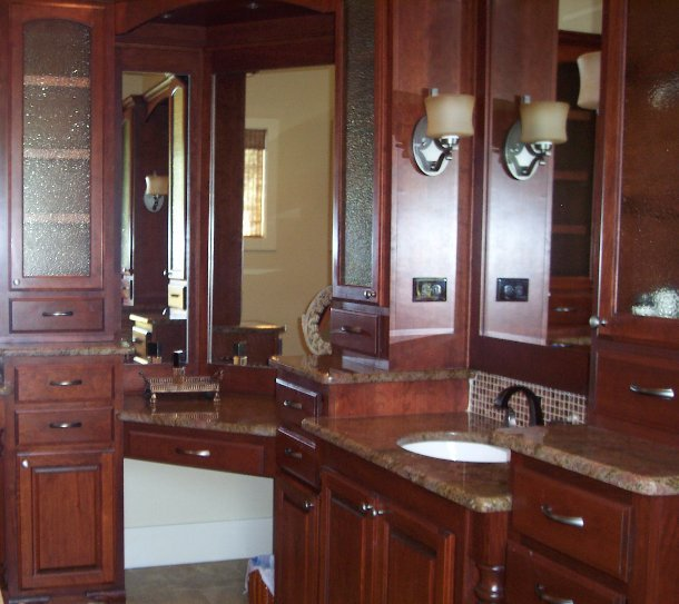 custom bathroom cabinets in cherry wood by JB Murphy Co.