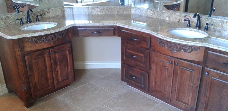 custom bathroom vanity with two sinks built by JB Murphy Co.