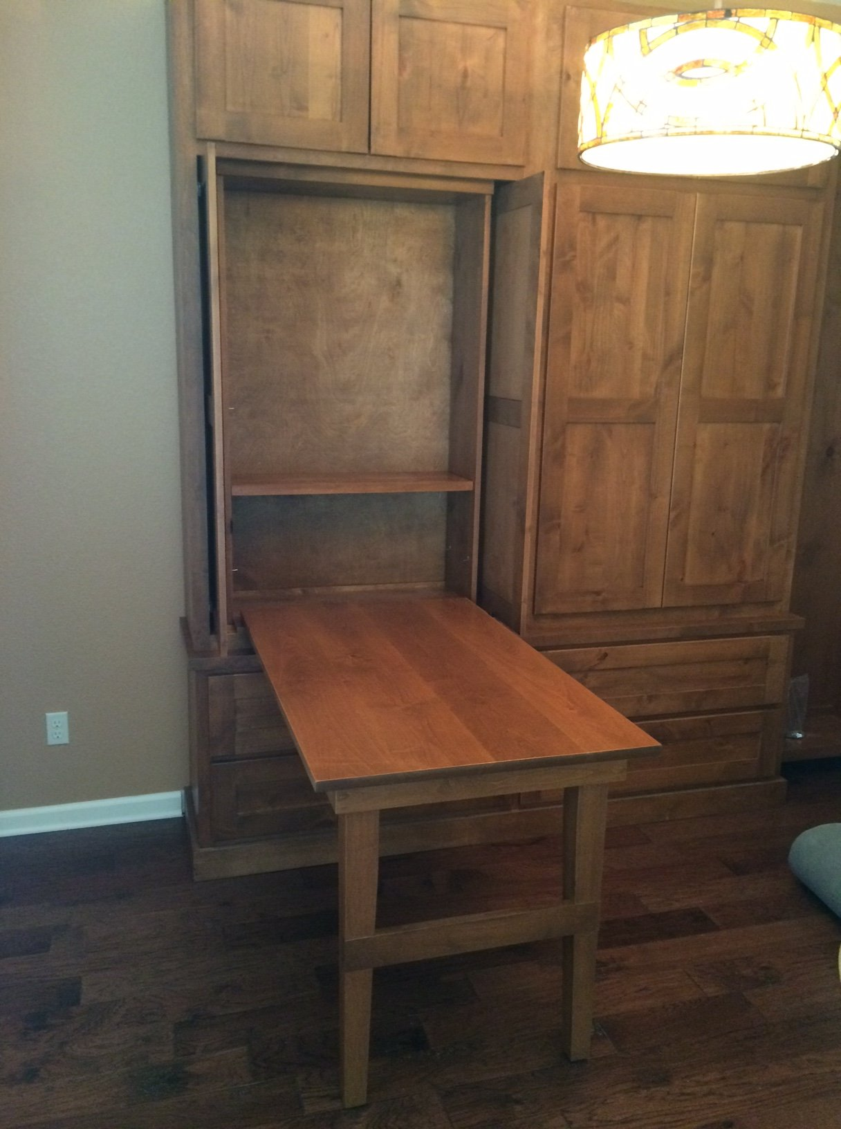 wall storage with drop down desk in down position jb murphy co custom cabinets