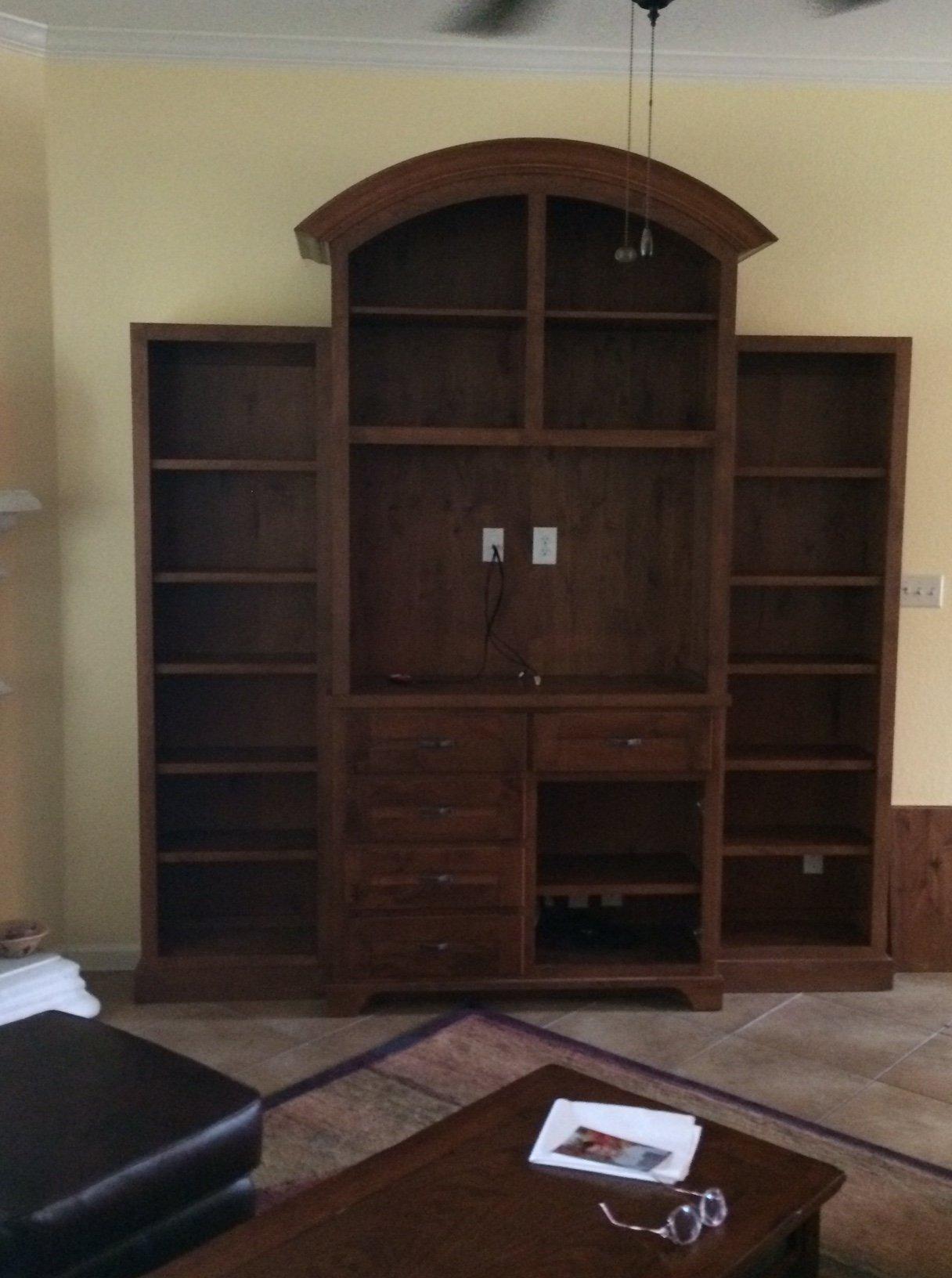 custom entertainment center by JB Murphy custom cabinets serving Georgetown, TX