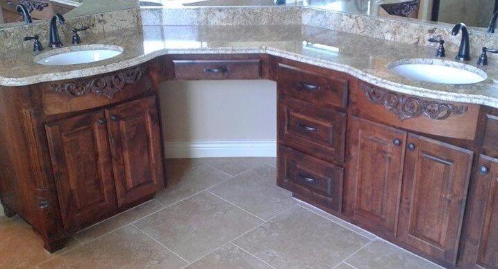 double bathroom sink vanity custom made by JB Murphy company