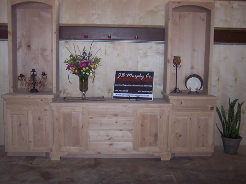 wood slab in natural clear finish for a room divider custom made by JB Murphy Company custom cabinet builder