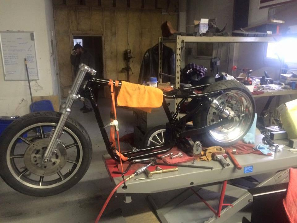 Assembling various parts of the custom motorcycle in progress in Bettendorf, IA