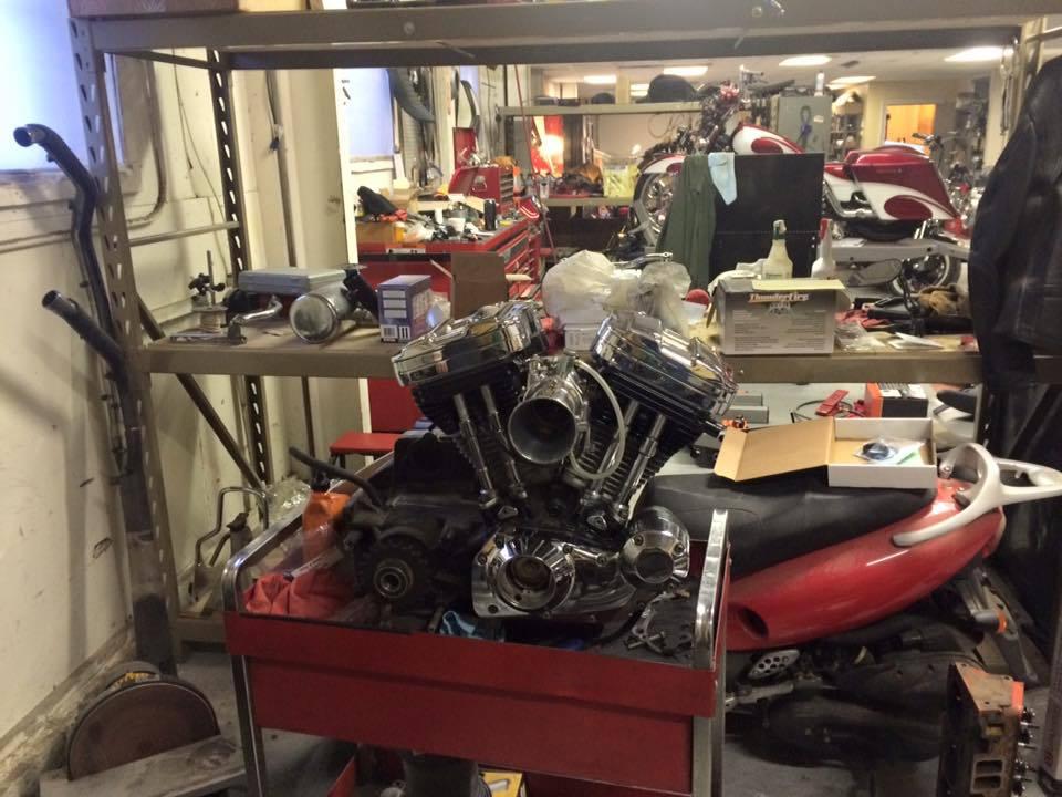 Engine modification work in progress in Bettendorf, IA