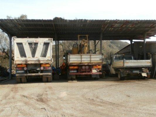 Vista posteriore di tre camion