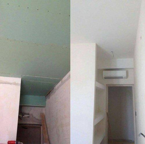 Interno di una casa prima e dopo la ristrutturazione a Caserta