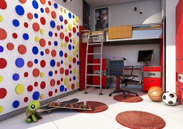 vista interna di un salotto con decorazione di parete e arredo casa