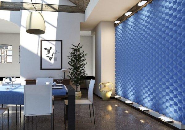 sala da pranzo moderno con parete decorata e arredamento di casa