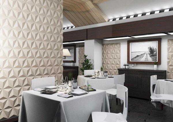 vista interna di una casa con parete in 3D, tavoli apparecchiati e arredamenti