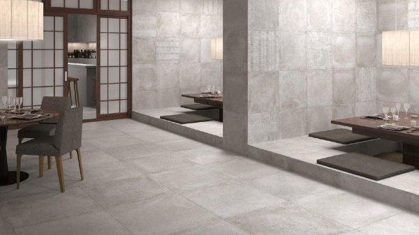vista interna di un sala da pranzo moderno con parete e pavimento in marmo