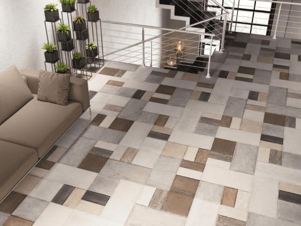 soggiorno moderno con pavimento in marmo, scala interna e divano
