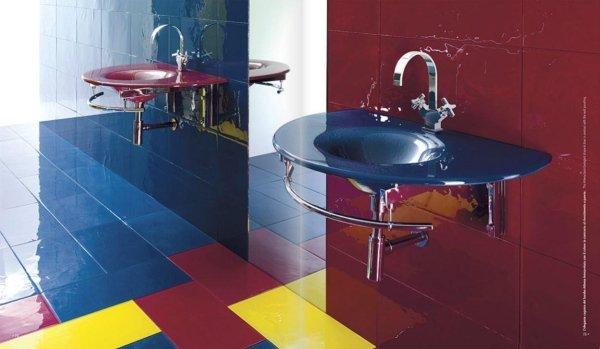 Piastrelle di Vetro colorati con lavabi