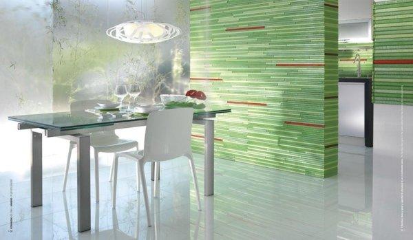 sala da pranzo con vetro color