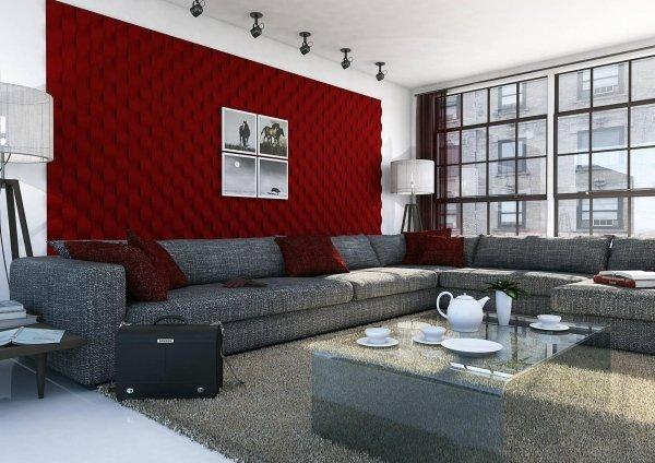 soggiorno moderno con decorazione di parete, divani, cuscini , tavolo in vetro apparecchiati e arredo casa