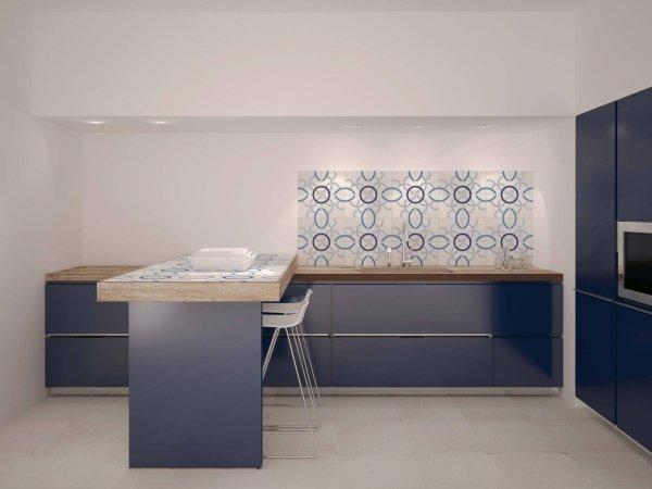 cucina moderna ad angolo rivestimenti colorati su parete