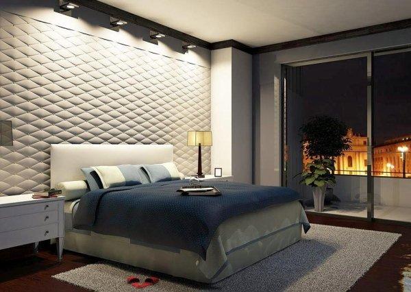 moderno camera da letto con arredamento