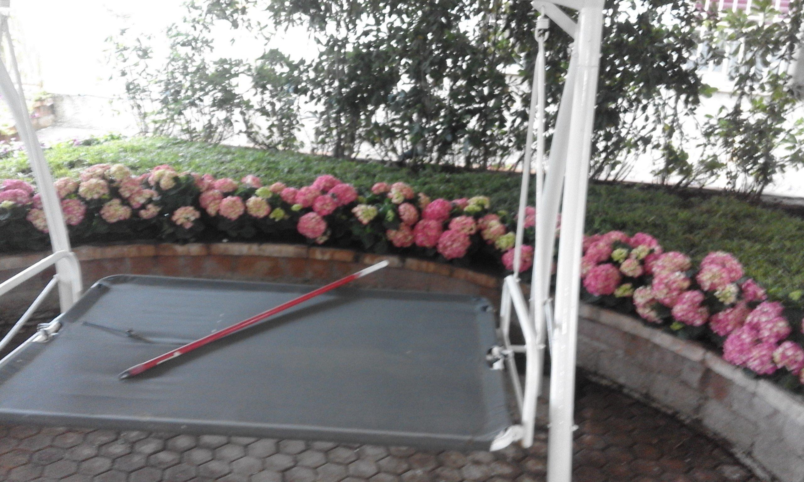 delle ortensie rosa in un prato dietro a un muretto e davani un dondolo con sopra un bastone rosso