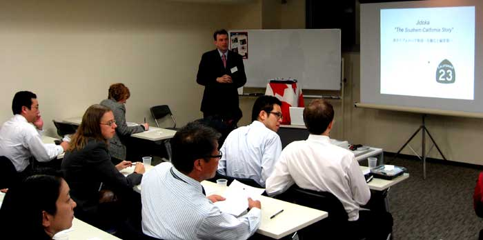 Ron Haigh of Toyota Motor Corporation speaking in Nagoya, Japan.
