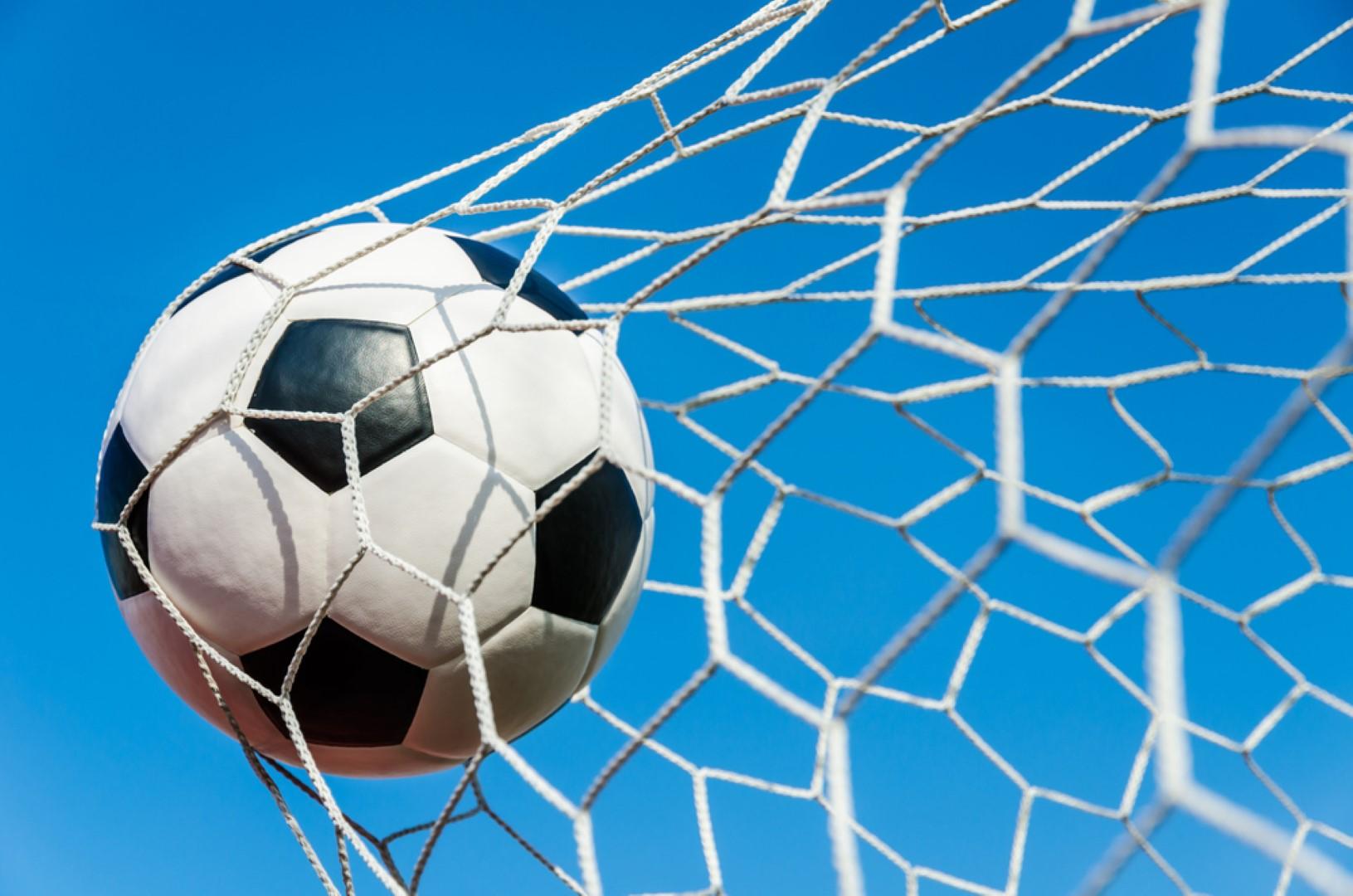 Rete porta da calcio con pallone