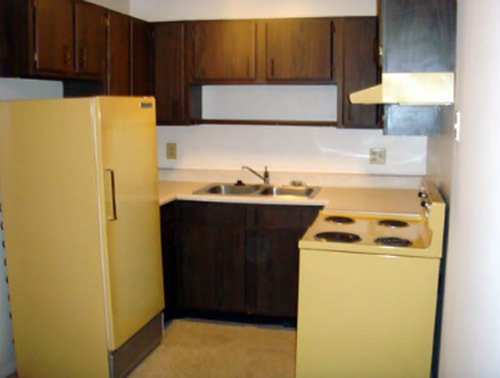 Kitchen view of two bedroom apartment