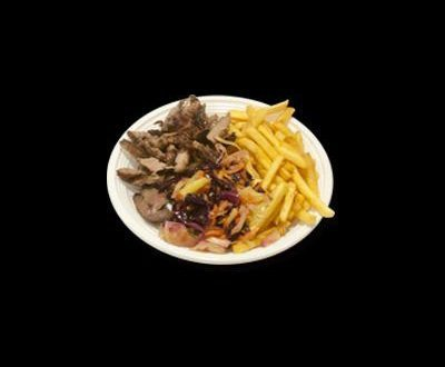 Kebab meat with fries