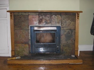 fireplace with tiled surround