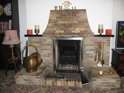 fireplace with tiles around