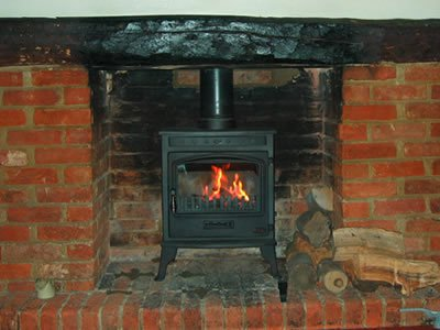 fireplace with chimney installation
